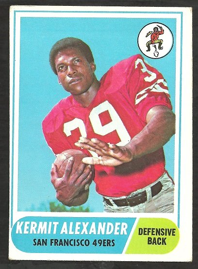 SAN FRANCISCO FORTY NINERS KERMIT ALEXANDER 1968 TOPPS # 191 VG/EX