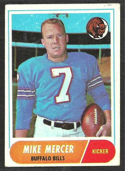 BUFFALO BILLS MIKE MERCER 1968 TOPPS # 123 good