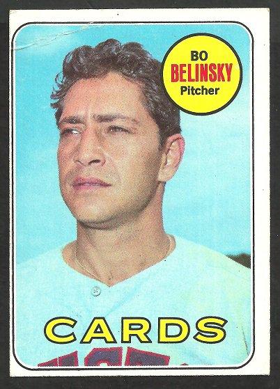 ST LOUIS CARDINALS BO BELINSKY 1969 TOPPS #366 VG OC