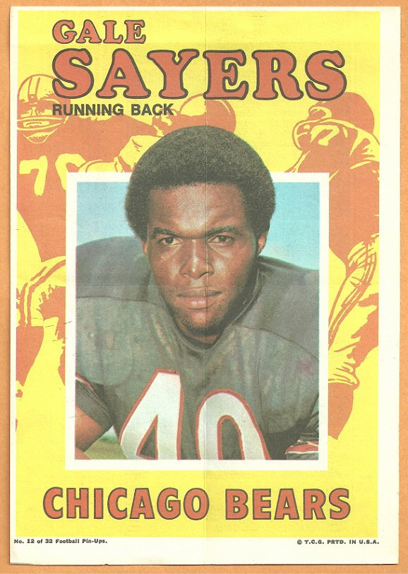 CHICAGO BEARS GALE SAYERS 1971 TOPPS PINUP # 12