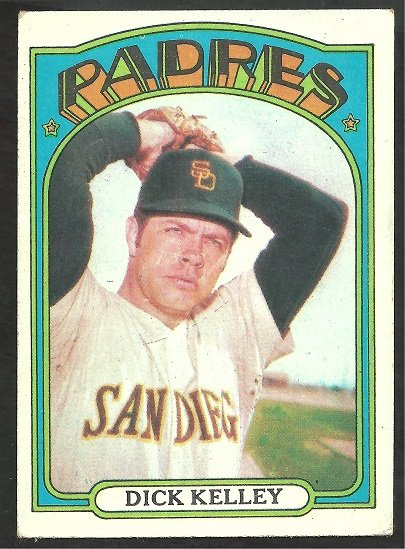SAN DIEGO PADRES DICK KELLEY 1972 TOPPS # 412
