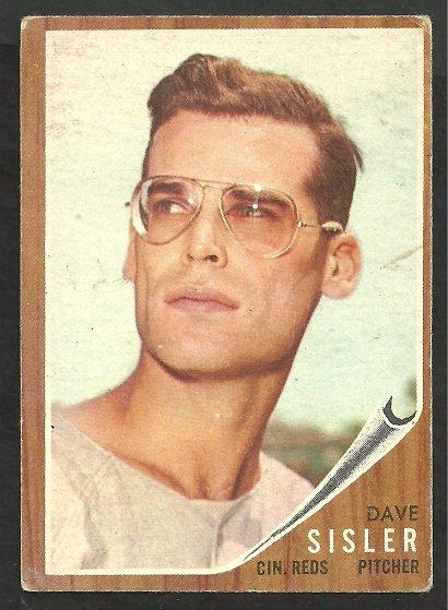 CINCINNATI REDS DAVE SISLER 1962 TOPPS # 171 G/VG