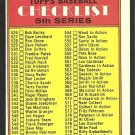 1972 TOPPS UNMARKED 5th SERIES CHECKLIST # 478 EX