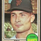 SAN FRANCISCO GIANTS RON HERBEL 1968 TOPPS # 333 EX