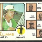 OAKLAND A's ATHLETICS DICK WILLIAMS 1973 TOPPS # 179 VG
