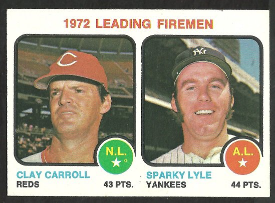 LEADING FIREMEN REDS CLAY CARROLL YANKEES SPARKY LYLE 1973 TOPPS # 68 NR MT