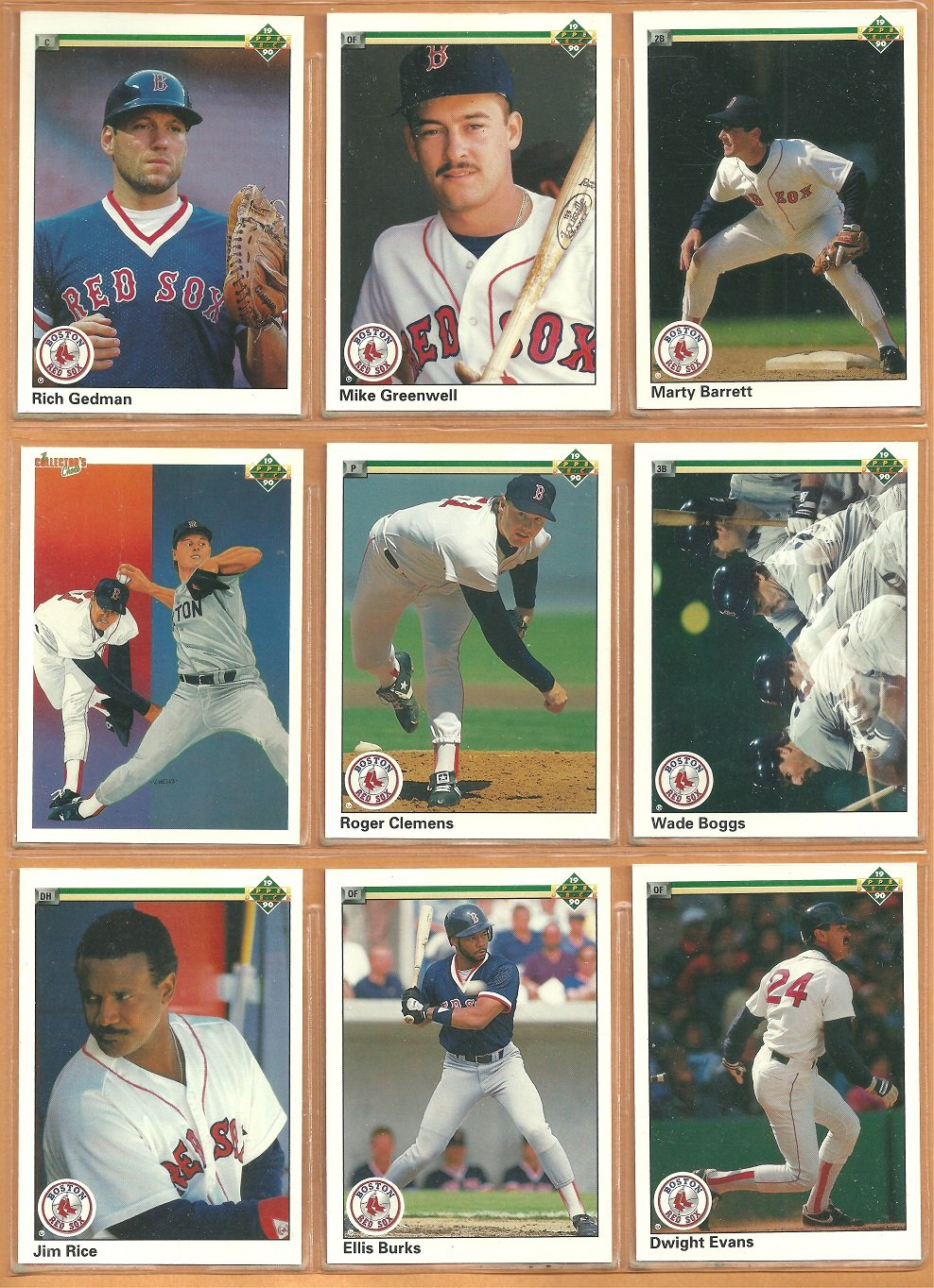 BOSTON RED SOX 1990 UPPER DECK TEAM SET (25) ROGER CLEMENS WADE BOGGS +