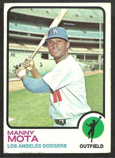 LOS ANGELES DODGERS MANNY MOTA 1973 TOPPS # 412 VG