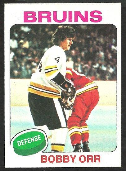 Boston Bruins Bobby Orr 1975 Topps Hockey Card 100 Last Bruins Card