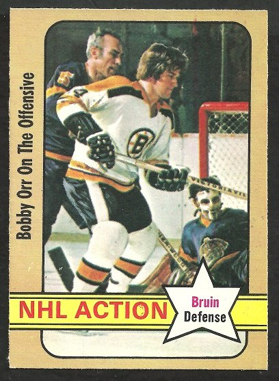 Boston Bruins Bobby Orr In Action 1972 OPC O Pee Chee Hockey Card 58 nr mt