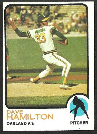 Oakland Athletics Dave Hamilton 1973 Topps Baseball Card 214 nr mt