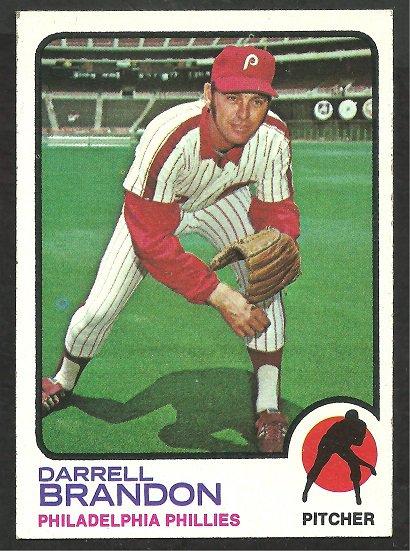 Philadelphia Phillies Darrell Brandon 1973 Topps Baseball Card 326 ex/nm