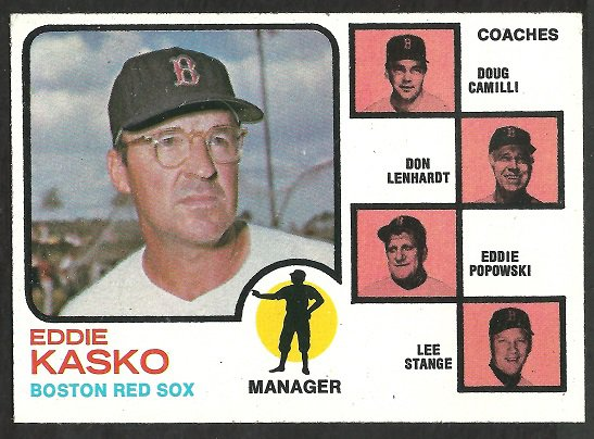 BOSTON RED SOX EDDIE KASKO & COACHES 1973 TOPPS # 131