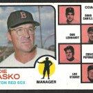 BOSTON RED SOX EDDIE KASKO & COACHES 1973 TOPPS # 131