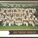 BALTIMORE ORIOLES TEAM CARD w/ Brooks Robinson 1974 TOPPS # 16 vg/ex
