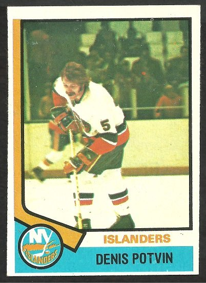 NEW YORK ISLANDERS DENIS POTVIN ROOKIE CARD RC 1974 TOPPS #195