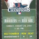 Seattle Mariners Boston Red Sox 2014 Ticket Dustin Ackley Kyle Seager Mookie Betts Cespedes