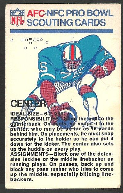 1973 Fleer Pro Bowl Scouting Report # 1 center g/vg