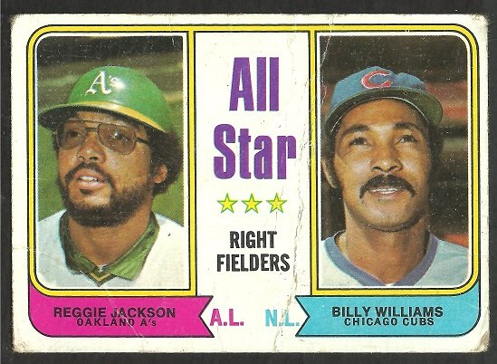ALL STAR RIGHT FIELDERS ATHLETICS REGGIE JACKSON CHICAGO CUBS BILLY WILLIAMS 1974 TOPPS # 338 fair