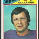 MINNESOTA VIKINGS PAUL KRAUSE 1977 TOPPS # 125 VG