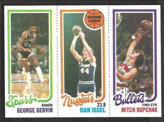1980 TOPPS # 208 SPURS GEORGE GERVIN # 72 NUGGETS DAN ISSEL BULLETS MITCH KUPCHAK