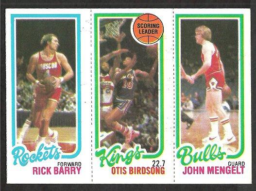 1980 TOPPS # 105 ROCKETS RICK BARRY # 122 KINGS OTIS BIRDSONG # 48 BULLS JOHN MENGELT