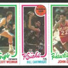 1980 TOPPS # 23 KINGS SCOTT WEDMAN # 164 KNICKS BILL CARTWRIGHT # 131 HAWKS JOHN DREW