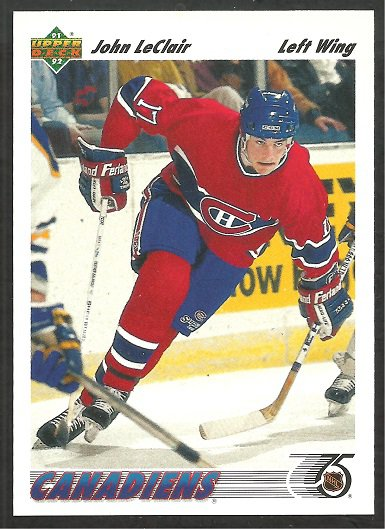 CANADIENS JOHN LeCLAIR ROOKIE CARD RC 1991 UPPER DECK # 345