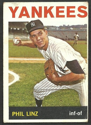 NEW YORK YANKEES PHIL LINZ 1964 TOPPS # 344 VG
