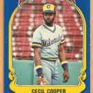 MILWAUKEE BREWERS CECIL COOPER 1981 FLEER STAR STICKER CARD # 16
