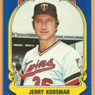 MINNESOTA TWINS JERRY KOOSMAN 1981 FLEER STAR STICKER CARD # 19