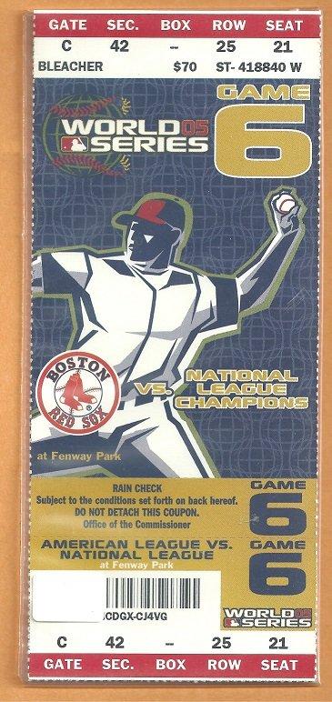Boston Red Sox 2005 World Series Fenway Park Unused Ticket