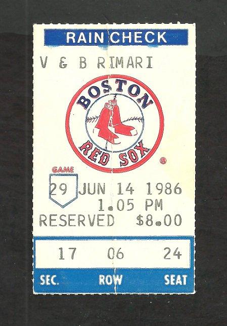 Milwaukee Brewers Boston Red Sox 1986 Ticket Stub Dwight Evans Ben Oglivie Tim Leary Steve Lyons