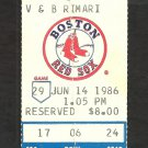 Milwaukee Brewers Boston Red Sox 1986 Ticket Stub Dwight Evans Ben Oglivie Tim Leary Steve Lyons