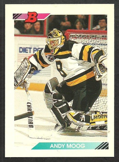 Boston Bruins Andy Moog 1992 Bowman Hockey Card # 79