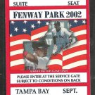 Tampa Bay Rays Boston Red Sox 2002 Private Suite Ticket Daubach Greive hr Damon 2 Hits Fenway Park