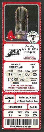 Tampa Bay Rays Boston Red Sox 2005 Ticket Renteria hr Carl Crawford Scott Kazmir