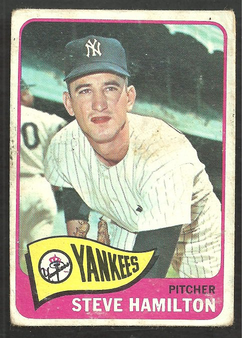 New York Yankees Steve Hamilton 1965 Topps Baseball Card # 309 fair/good