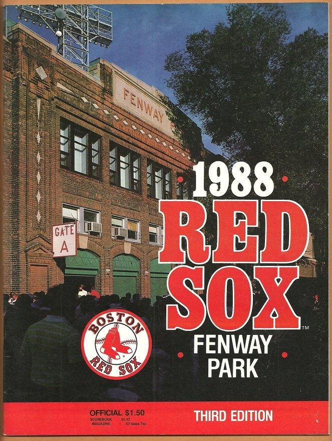 Boston Red Sox 1988 Fenway Park Program vs Detroit Tigers Ted Williams Ellis Burks Mike Greenwell