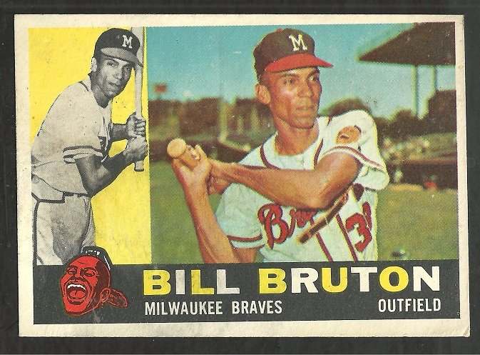 Milwaukee Braves Bill Bruton 1960 Topps Baseball Card # 37