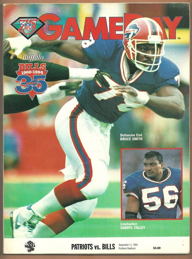 1994 NFL Game Day Program Buffalo Bills New England Patriots Bruce Smith Cover Photo