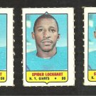 3 1969 Topps 4 in 1 Stamps New York Giants Spider Lockhart
