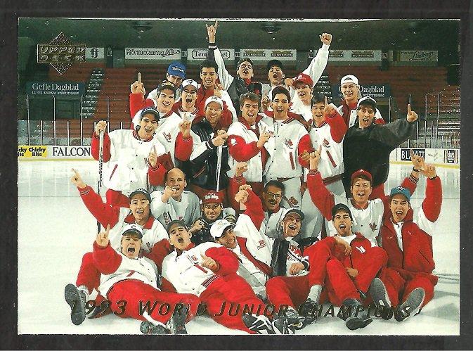 World Junior Champions Team Canada 1992 Upper Deck Hockey Card Insert # sp3