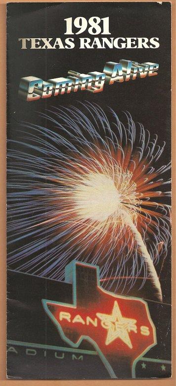 1981 Texas Rangers Arlington Stadium Ticket Brochure