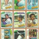 1980 Topps Kansas City Royals Team Lot George Brett Hal McRae Dan Quisenberry RC Amos Otis W Wilson