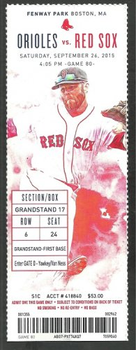 Baltimore Orioles Boston Red Sox 2015 Ticket Mookie Betts Rusney Castillo Josh Rutledge