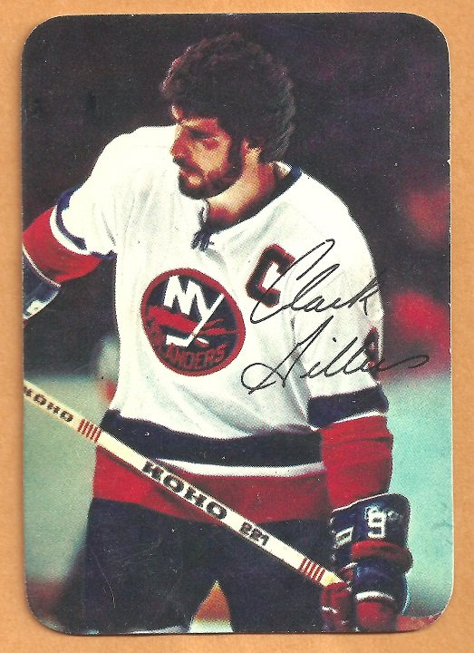 New York Islanders Clark Gillies 1977 Topps Insert Hockey Card # 6 vg