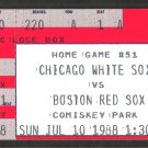 Boston Red Sox Chicago White Sox 1988 Ticket Harold Baines Greg Walker Mike Greenwell