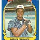 Montreal Expos Warren Cromartie 1981 Fleer Star Sticker Baseball Card # 92