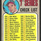 1968 Topps Baseball Card # 518a 7th Series Checklist 539 A.L. Rookies Variation unmarked